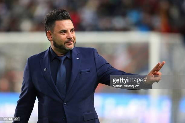 Antonio Mohamed head coach of Monterrey greets fans during the 13th round match between Pachuca and Monterrey as part of the Torneo Clausura 2018...