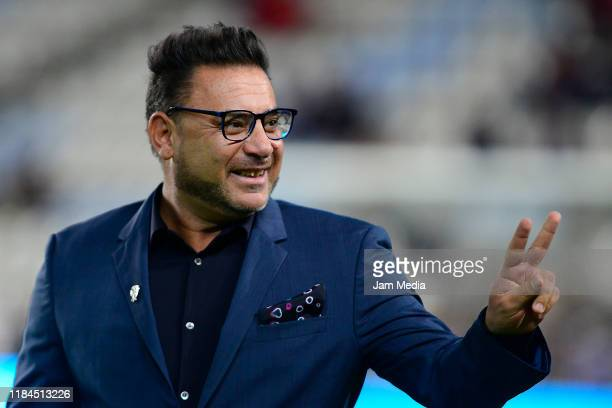 Antonio Mohamed Head Coach of Monterrey greets prior the 16th round match between Pachuca and Monterrey as part of the Torneo Apertura 2019 Liga MX...