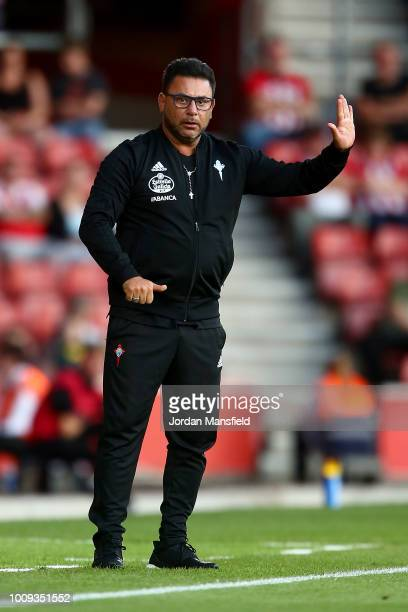Antonio Mohamed manager of Celta Vigo gestures from the touchline during the PreSeason Friendly match between Southampton and Celta Vigo at St Mary's...