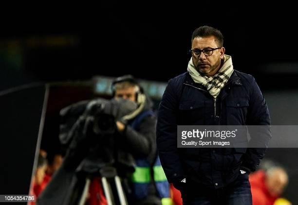 Antonio Mohamed the manager of Celta de Vigo looks on during the La Liga match between RC Celta de Vigo and SD Eibar at AbancaBalaidos Stadium on...