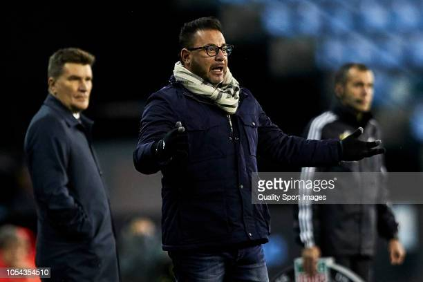 Antonio Mohamed the manager of Celta de Vigo reacts during the La Liga match between RC Celta de Vigo and SD Eibar at AbancaBalaidos Stadium on...
