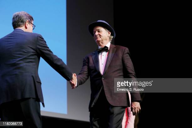 Antonio Monda and Bill Murray attend the masterclass during the 14th Rome Film Festival on October 19 2019 in Rome Italy