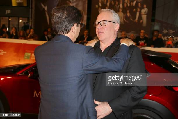 Antonio Monda and Bret Easton Ellis attend the Motherless Brooklyn red carpet during the 14th Rome Film Festival on October 17 2019 in Rome Italy