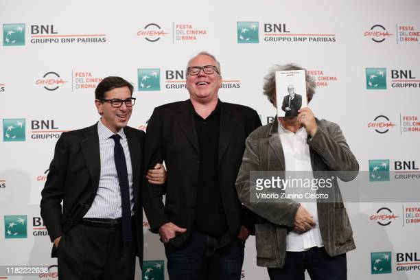 Antonio Monda and Bret Easton Ellis attend the photocall during the 14th Rome Film Festival on October 20 2019 in Rome Italy