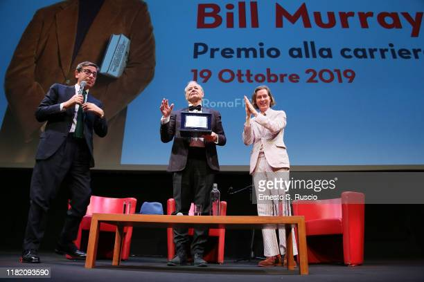 Antonio Monda Bill Murray and Wes Anderson at Lifetime Achievement Award during the 14th Rome Film Festival on October 19 2019 in Rome Italy