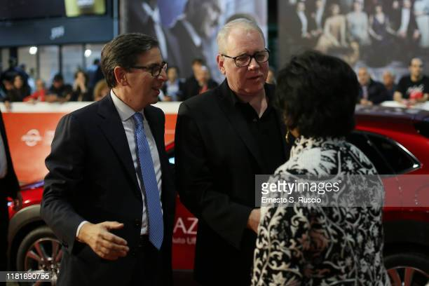 "Antonio Monda, Bret Easton Ellis and Jacqueline Greaves attends the ""Motherless Brooklyn"" red carpet during the 14th Rome Film Festival on October..."