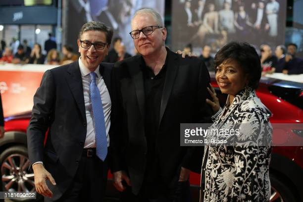Antonio Monda Bret Easton Ellis and Jacqueline Greaves attends the Motherless Brooklyn red carpet during the 14th Rome Film Festival on October 17...