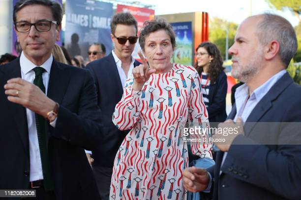 Antonio Monda Edward Norton and Frances McDormand walks a red carpet during the 14th Rome Film Festival on October 19 2019 in Rome Italy