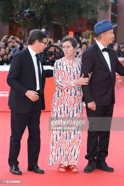 Antonio Monda Frances McDormand and Bill Murray walk a red carpet during the 14th Rome Film Festival on October 19 2019 in Rome Italy