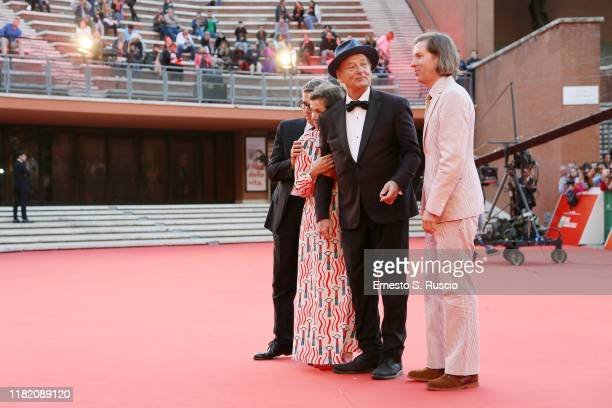 Antonio Monda Frances McDormand Bill Murray and Wes Anderson walk a red carpet during the 14th Rome Film Festival on October 19 2019 in Rome Italy