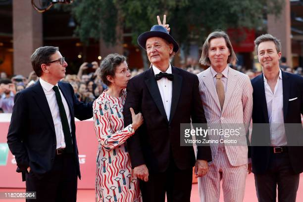 Antonio Monda Frances McDormand Bill Murray Wes Anderson and Edward Norton walk a red carpet during the 14th Rome Film Festival on October 19 2019 in...