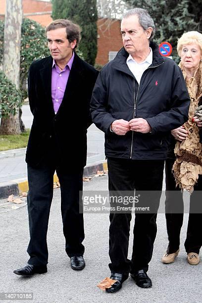 Antonio Montero and Antonio Morales Junior attend the funeral for Carmen Barretto Valdes who died at 97 years old at La Almudena Graveyard on March 4...