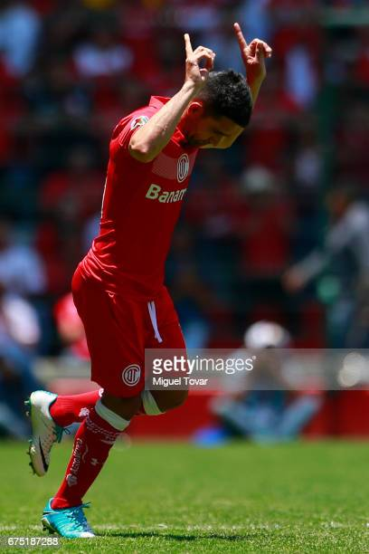 Antonio Naelson of Toluca gestures as he gets onto the field during the 16th round match between Toluca and Queretaro as part of the Torneo Clausura...