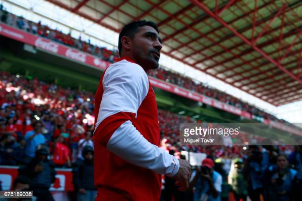 Antonio Naelson of Toluca looks on prior getting onto the field for his last match during the 16th round between Toluca and Queretaro as part of the...