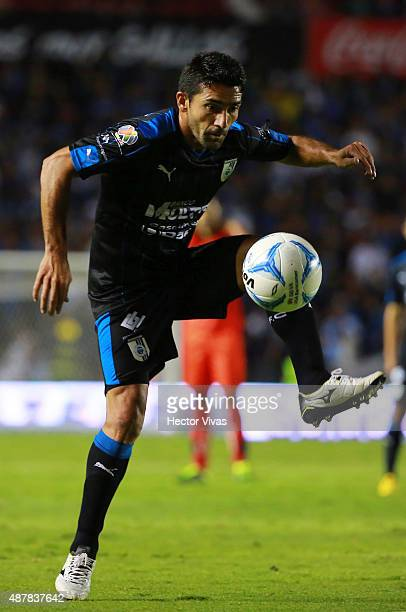 Antonio Naelson Sinha of Queretaro receives the ball during a 8th round match between Queretaro and Morelia as part of the Apertura 2015 Liga MX at...