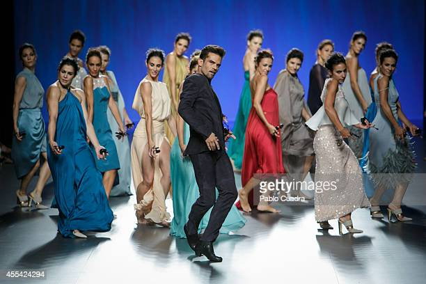 Antonio Najarro and members of the National Ballet of Spain showcase designs by Duyos on the runway at Duyos fashion show during Mercedes Benz...