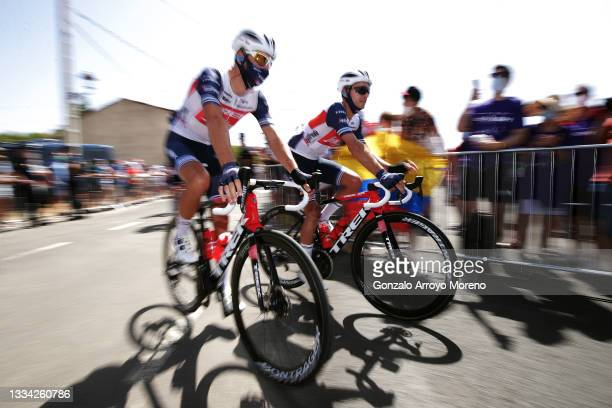 Antonio Nibali of Italy and Gianluca Brambilla of Italy and Team Trek - Segafredo prior to the 76th Tour of Spain 2021, Stage 2 a 166,7km stage from...
