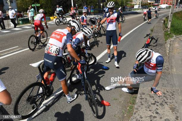 Antonio Nibali of Italy, Gianluca Brambilla of Italy, Alex Kirsch of Luxembourg and Team Trek - Segafredo attend to his teammate Giulio Ciccone of...