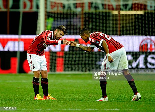 Antonio Nocerino and Kevin Prince Boateng celebrate scoring the first goal during the Serie A match between AC Milan and AC Siena at Stadio Giuseppe...