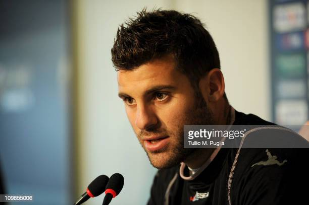Antonio Nocerino answers questions before a Palermo training session at Tenente Carmelo Onorato Sports Center on March 8 2011 in Palermo Italy