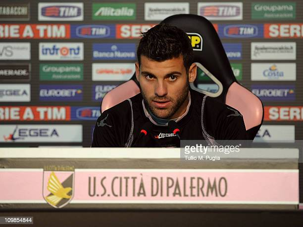 Antonio Nocerino answers questions before a training session at Tenente Carmelo Onorato Sports Center on March 8 2011 in Palermo Italy
