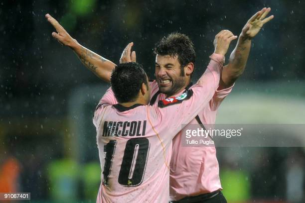 Antonio Nocerino is congratulated by Fabrizio Miccoli of Palermo after he scored the third goal during the Serie A match played between US Citta di...