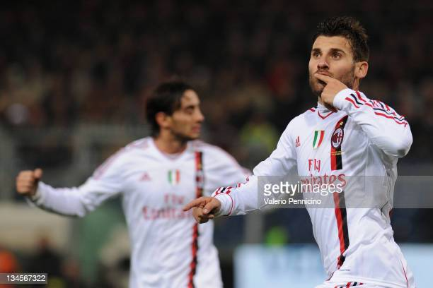Antonio Nocerino of AC Milan celebrates a goal during the Serie A match between Genoa CFC and AC Milan at Stadio Luigi Ferraris on December 2 2011 in...