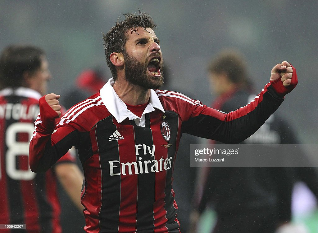 Antonio Nocerino of AC Milan celebrates a victory at the end of the Serie A match between AC Milan and Juventus FC at San Siro Stadium on November 25, 2012 in Milan, Italy.