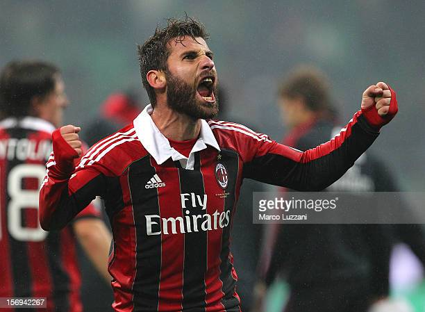 Antonio Nocerino of AC Milan celebrates a victory at the end of the Serie A match between AC Milan and Juventus FC at San Siro Stadium on November 25...