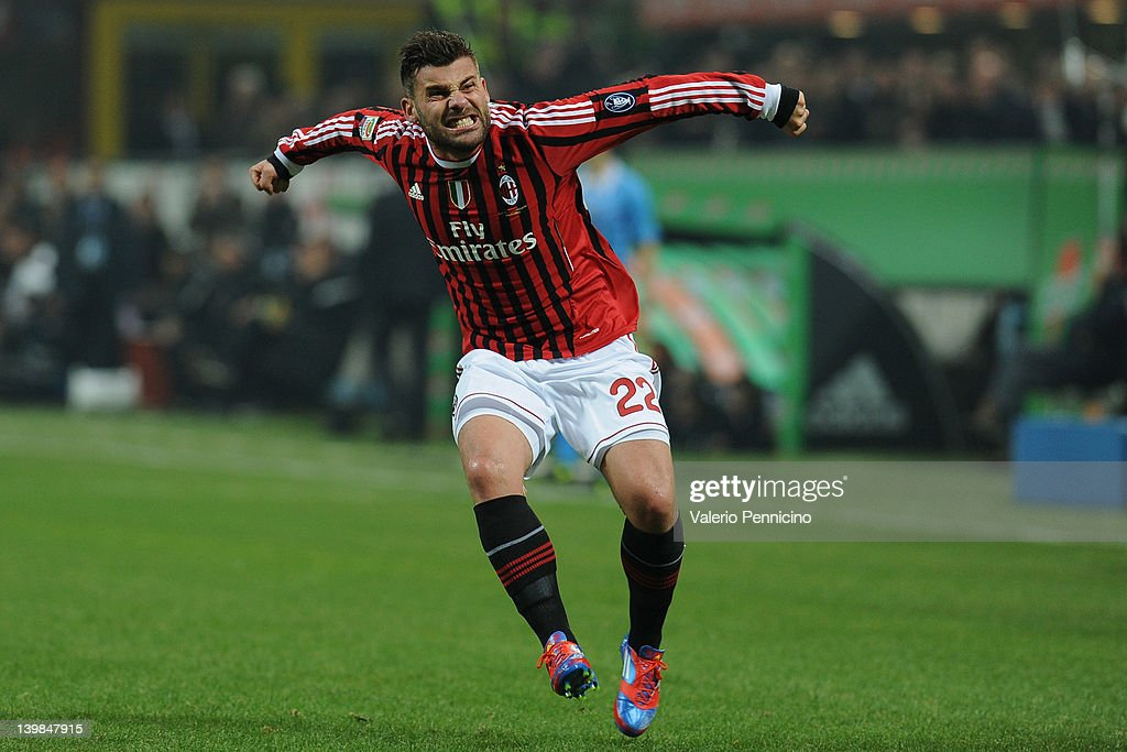Antonio Nocerino of AC Milan celebrates after scoring the opening goal during the Serie A match between AC Milan and Juventus FC at Stadio Giuseppe Meazza on February 25, 2012 in Milan, Italy.
