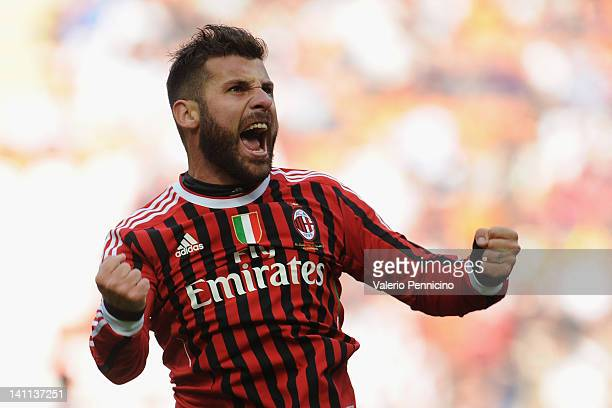 Antonio Nocerino of AC Milan celebrates after scoring the opening goal during the Serie A match between AC Milan and US Lecce at Stadio Giuseppe...