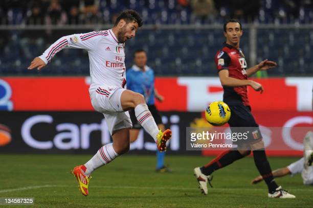 Antonio Nocerino of AC Milan scores a goal during the Serie A match between Genoa CFC and AC Milan at Stadio Luigi Ferraris on December 2 2011 in...