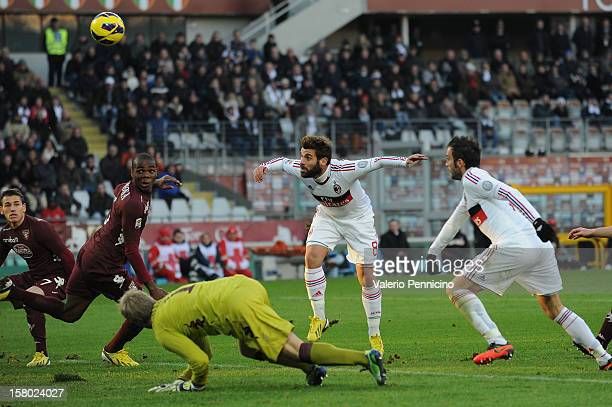 Antonio Nocerino of AC Milan scores their second goal during the Serie A match between Torino FC and AC Milan at Stadio Olimpico di Torino on...