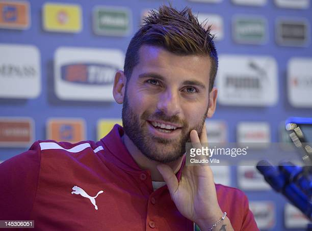Antonio Nocerino of Italy during a press conference at Coverciano on May 26 2012 in Florence Italy