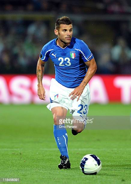Antonio Nocerino of Italy in action during the UEFA EURO 2012 Group C qualifying match between Italy and Estonia on June 3 2011 in Modena Italy