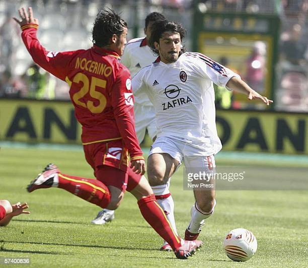 Antonio Nocerino of Messina in action against Ivan Gennaro Gattuso of Milan during the Serie A match between Messina and AC Milan at the Stadio...