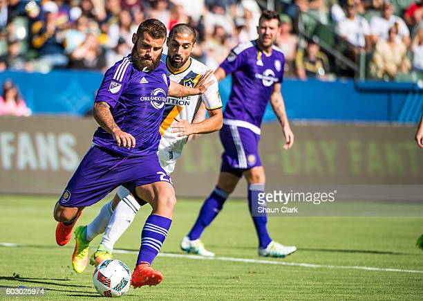 Antonio Nocerino of Orlando City FC clears the ball during Los Angeles Galaxy's MLS match against Orlando City SC at the StubHub Center on September...