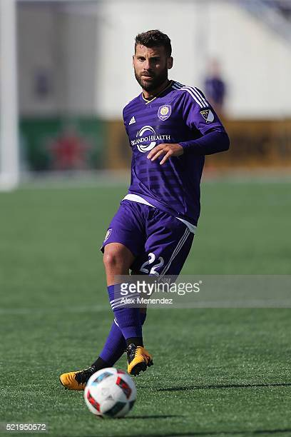 Antonio Nocerino of Orlando City SC kicks the ball during a MLS soccer match against the New England Revolution at the Orlando Citrus Bowl on April...