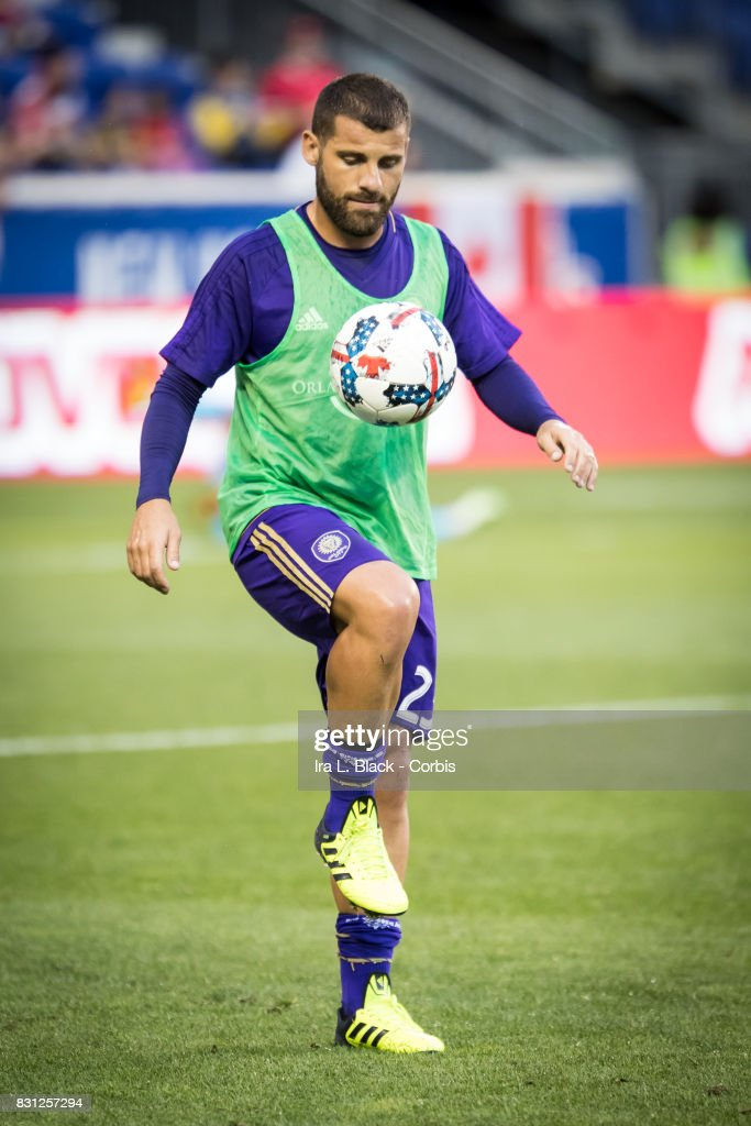Antonio Nocerino #23 of Orlando City SC warms up prior to the MLS match between New York Red Bulls and Orlando City SC at the Red Bull Arena on August 12, 2017 in Harrison, NJ. The New York Red Bulls won the match with a score of 3 to 1.