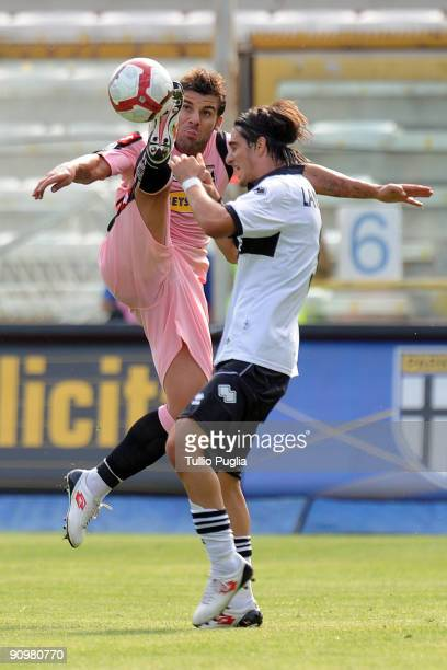 Antonio Nocerino of Palermo and Davide Lanzafame of Parma battle for the ball during Serie A match played between Parma FC and US Citta di Palermo at...
