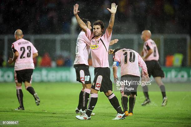 Antonio Nocerino of Palermo celevrates scoring their third goal during the Serie A match played between US Citta di Palermo and AS Roma at Stadio...