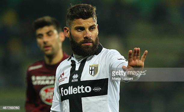 Antonio Nocerino of Parma FC gestures during the Serie A match between Parma FC and Torino FC at Stadio Ennio Tardini on March 22 2015 in Parma Italy
