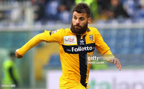 Antonio Nocerino of Parma FC looks on during the Serie A match between Genoa CFC and Parma FC at Stadio Luigi Ferraris on April 15 2015 in Genoa Italy