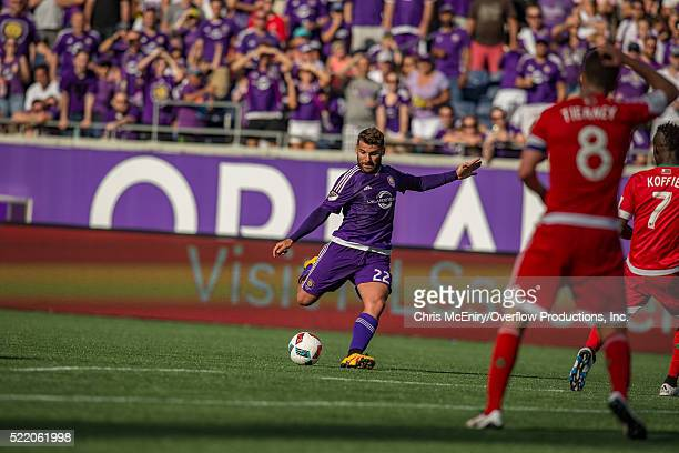 Antonio Nocerino of the Orlando City Lions kicks the ball against the New England Revolution at the Citrus Bowl in Orlando Florida on April 17 2016