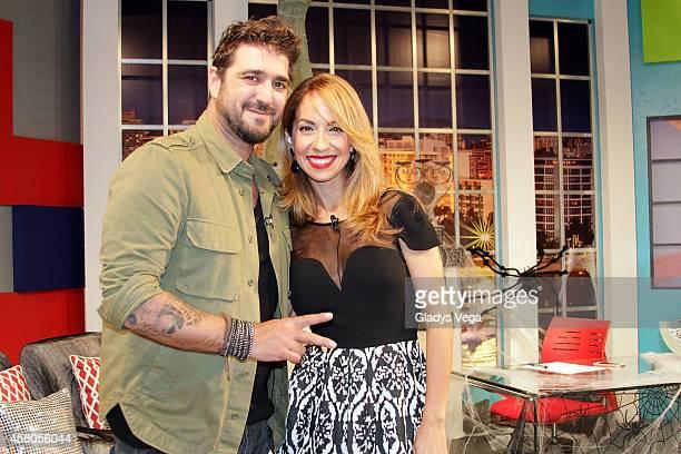 Antonio Orozco and Alexandra Fuentes on 'Alexandra de Noche' at Telemundo studios on October 29 2014 in San Juan Puerto Rico