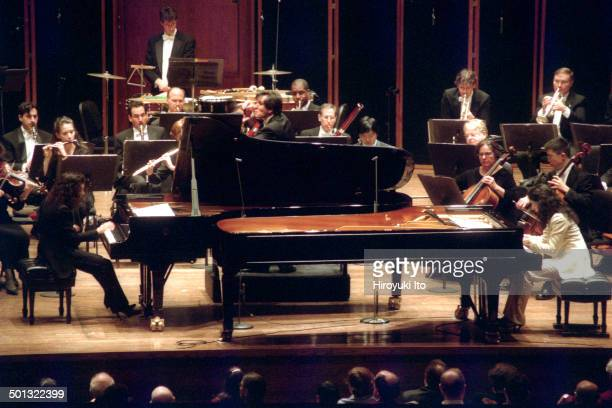 Antonio Pappano leading the New York Philharmonic at Avery Fisher Hall on Thursday night February 19 2004This imageAntonio Pappano center with Katia...