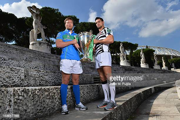Antonio Pavarello of Benetton Treviso and Roberto Quartaroli of Zebre pose during a photocall for the Italian Heineken Cup and Amlin Challenge Cup...