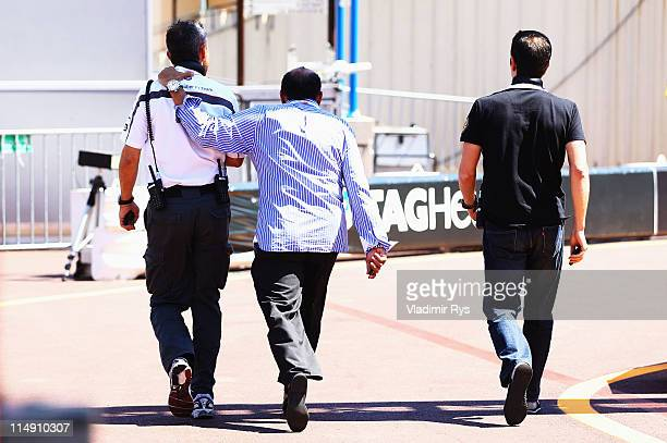 Antonio Perez , father of Sergio Perez of Mexico and Sauber F1, leaves the paddock after his son crashed during qualifying for the Monaco Formula One...