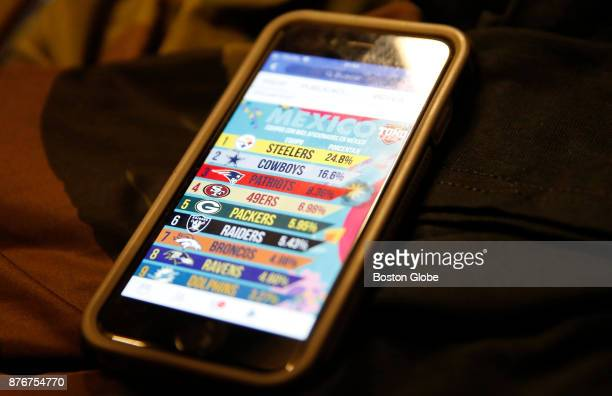Antonio Pinon pulls up a list of the most popular NFL teams in Mexico as he and his friends watch the Pittsburgh Steelers game at a Buffalo Wild...