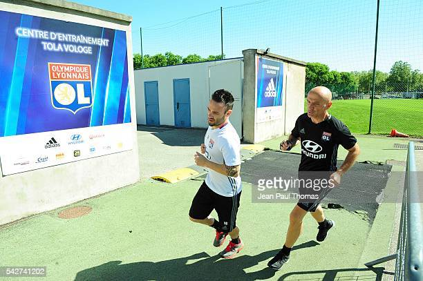 Antonio PINTUS and Mathieu VALBUENA of Lyon during First Session Training of Olympique Lyonnais at Centre Tola Vologe on June 24 2016 in Lyon France